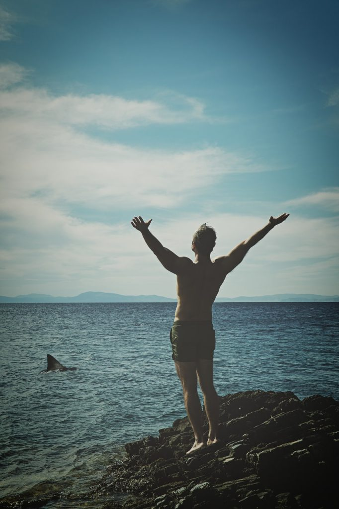 athlete, blue sky, coast